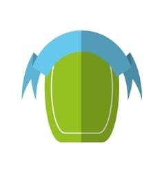 green shield empty blue ribbon shadow vector image
