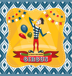 circus card with mime artist vector image