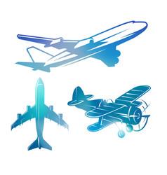 Color airplane symbols logotypes aviation vector