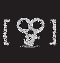 male and female symbol sketch design vector image