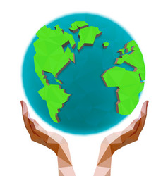 polygonal hands holding the polygon globe vector image