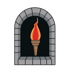 cartoon medieval torch flame light vector image