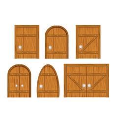wooden door set vector image