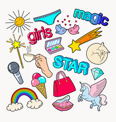 teenager girl style doodle with rainbow unicorn vector image