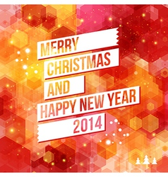 Merry christmas and happy new year 2014 card vector