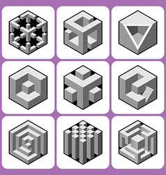 cube icon set 6 vector image