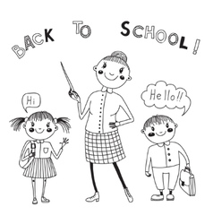 The teacher with the students back to school vector