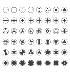 Various screw heads silhouette set vector