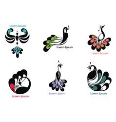 Peacock label vector