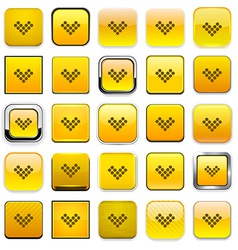 Square yellow download icons vector