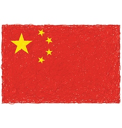 hand drawn of flag of China in white background vector image