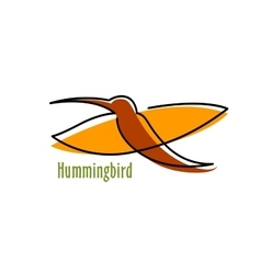 Abstract hummingbird in orange and brown vector