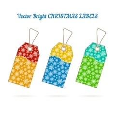 Set of Christmas labels with background from vector image