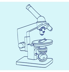 Line art silhouette of microscope cartoon vector
