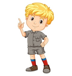 Little boy pointing his finger up vector