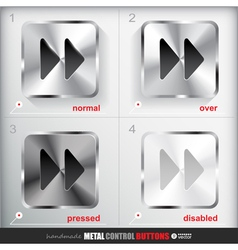 Set of four positions of metal fast forward button vector