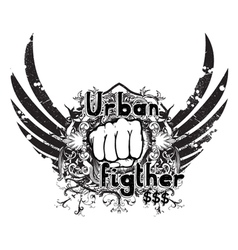 urban emblem with fist vector image