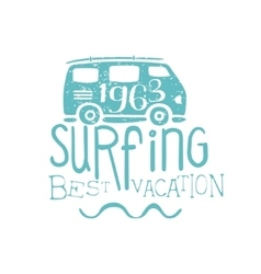 Summer holydays vintage emblem with bus vector