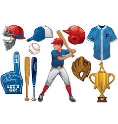 baseball elements in set vector image vector image