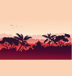 beauty landscape jungle silhouette style vector image vector image