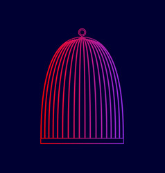 Bird cage sign line icon with gradient vector