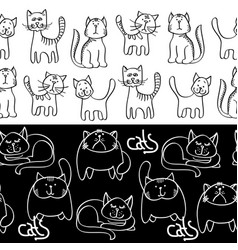 black and white doodle cats seamless borders vector image vector image