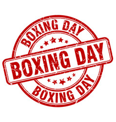 Boxing day red grunge round vintage rubber stamp vector