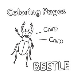 Cartoon beetle coloring book vector