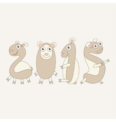 Cartoon sheep form an inscription 2015 vector image