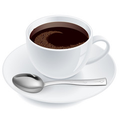 Coffee with spoon on white background vector