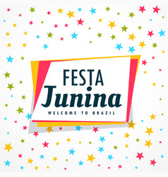 colorful festa junina holiday greeting design vector image vector image