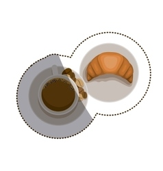 Croissant and coffee cup design vector