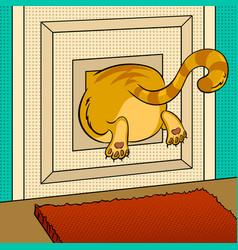 Fat cat stuck pop art vector