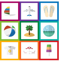 Flat icon beach set of ocean surfing sphere and vector