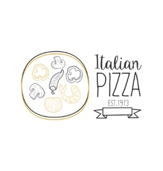 Full pizza abd ribbon premium quality italian vector