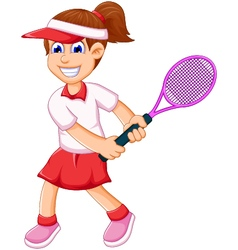 Funny girl cartoon playing tennis vector