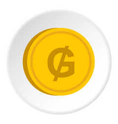 Gold coin with guarani sign icon circle vector