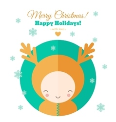 Greeting card with fun child for Christmas in flat vector image