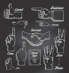 Hand and Finger sign doodle drawn on chalkboard vector image