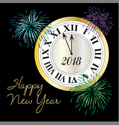 happy new year clock with fireworks vector image vector image