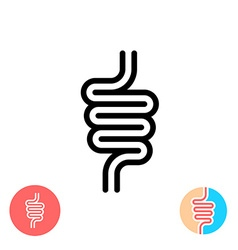 Intestines black symbol icon Simple linear rounded vector image