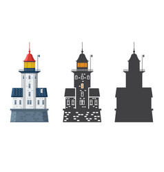 lighthouse icon in flat and outline style vector image vector image