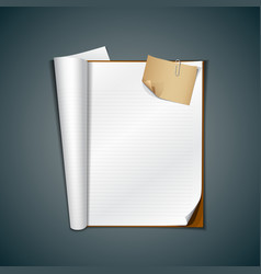 Open white book and vintage paper note vector image