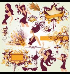party urban elements vector image vector image