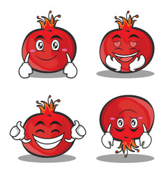 Pomegranate cartoon character style set vector