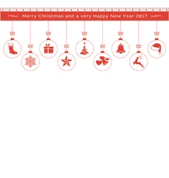 Red Christmas ornaments border header vector image