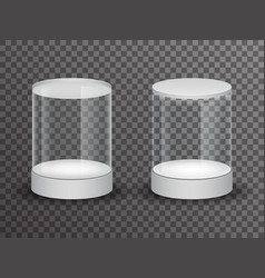 Round glass showcase box isolated 3d realistic vector