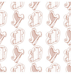 Seamless pattern with a harp and a contour map of vector