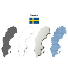 Sweden outline map set vector image