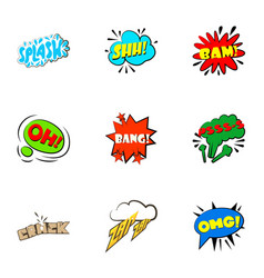 Trendy speech bubble icons set cartoon style vector